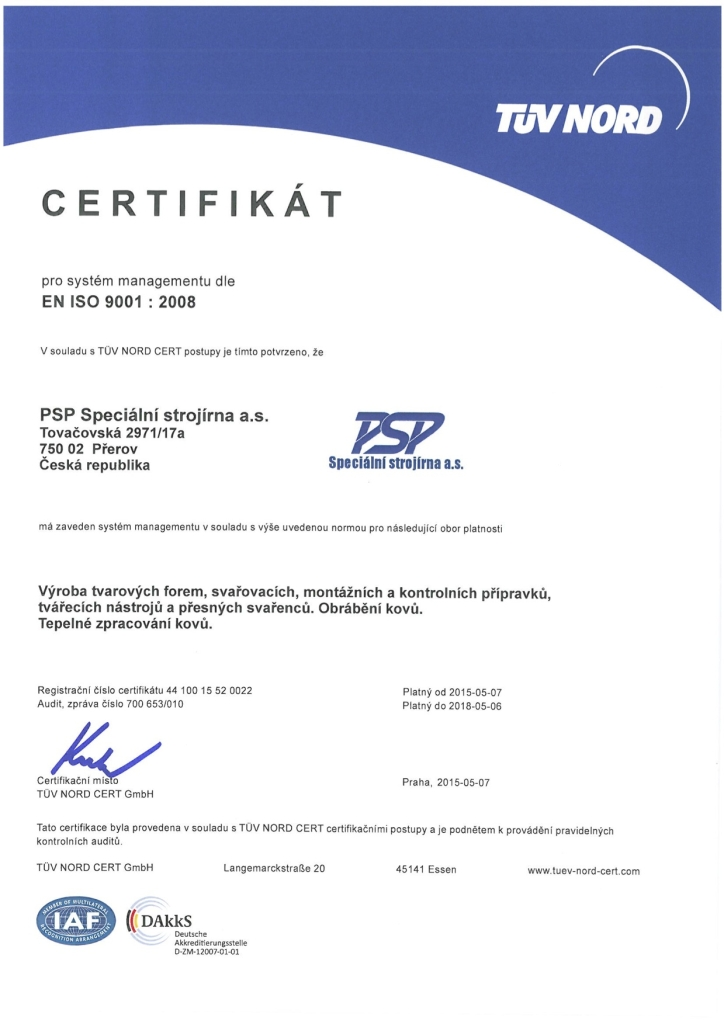 PSP – Speciální strojírna a.s. - Valid certificates of our company